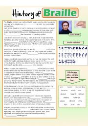 English Worksheet: History of Braille