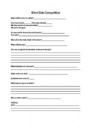 English Worksheets: Blind  Date Competition
