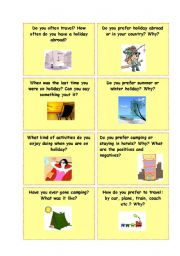 English Worksheet: Conversation Cards (part 1/4) - Travelling, holidays, tourism