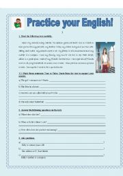 English Worksheets: PRACTICE YOUR ENGLISH (for beginners)