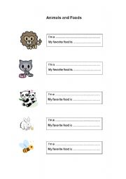English Worksheets: Animals and Foods