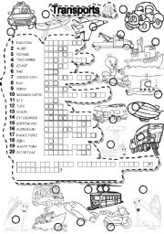 English Worksheet: TRANSPORTS PUZZLE