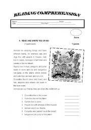 English Worksheet: Animals ( Reading Comprehension)