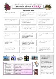 English Worksheet: Let�s talk about FEARS