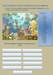 English Worksheet: Describing your favorite wild animal