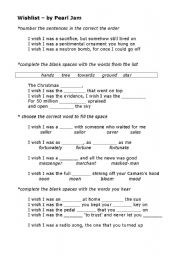 English Worksheets: Song - Wishlist by Pearl Jam