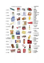 English Worksheet: Containers: match the item´s name and container to the picture
