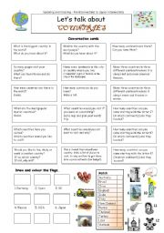 English Worksheet: Let�s talk about COUNTRIES