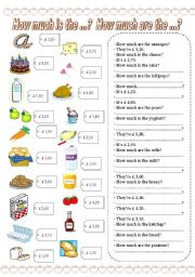 English Worksheets: How much is the ...? How much are the ...? (3)