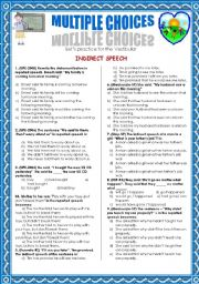 English Worksheet: INDIRECT SPEECH-MULTIPLE CHOICE