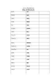 English Worksheets: List of animals