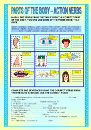 English Worksheets: Verbs connected with parts of the body