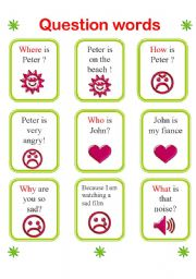 English Worksheets: 26 cards to practise question words