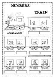 English Worksheet: NUMBERS TRAIN