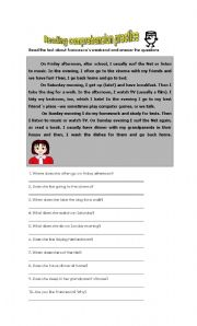 English Worksheets: Reading comprehension practice