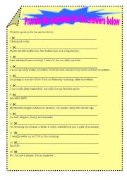 English Worksheets: provide the questions for the answers