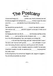 English worksheet: The Postcard ~ funny CLOZE