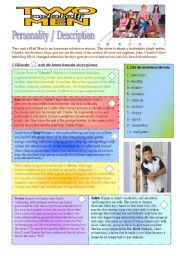 English Worksheets: Personality-Description TWO AND A HALF MEN