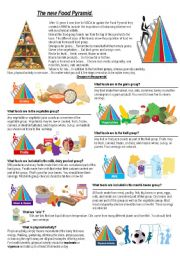 English Worksheet: food pyramid and eating habbits