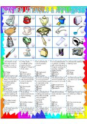 English Worksheet: kITCHEN UTENSILS AND APPLIANCES