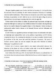 English Worksheets: Isaac Newton