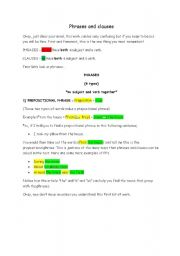 Printables Clauses And Phrases Worksheets english teaching worksheets clauses phrases and 1