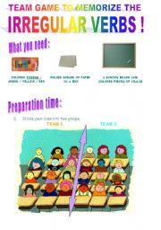 English Worksheet: Team game to memorize the irregular verbs