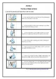 English Worksheet: The Use of Water at Home