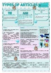 English Worksheet: Types of Articles (A or AN, THE or ZERO ARTICLE)