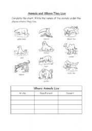 English Worksheets: Animals and Where They Live