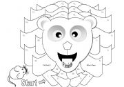English Worksheets: Lion Gameboard Black and White Version (Matching Cards Available in Another File)