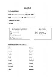 English Worksheets: lesson 1 starter