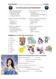 English Worksheets: Song Activity: Halo - Beyonce