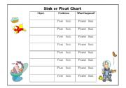 English Worksheets: Sink or Float? Super Science activity!!!! Chart and Flash Cards Included!!!!