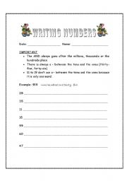 English Worksheets: writing out numbers