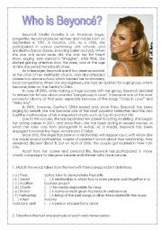 English Worksheet: Who is Beyoncé?