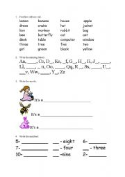 English Worksheets: My first words in English