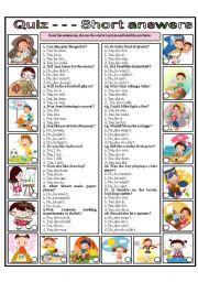 English Worksheet: quiz - - - SHORT ANSWERS