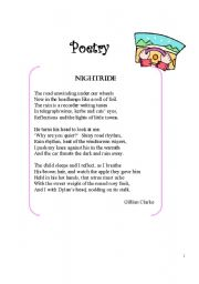 English Worksheet: Poem Nightride
