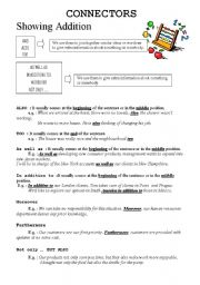 English Worksheets: CONNECTORS showing ADDITION 2pgs.