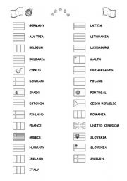 English Worksheet: Flags and members of the European Union