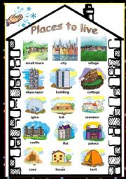 places to live types of houses esl worksheet by vanda51. Black Bedroom Furniture Sets. Home Design Ideas