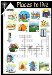 english worksheets places to live types of houses. Black Bedroom Furniture Sets. Home Design Ideas