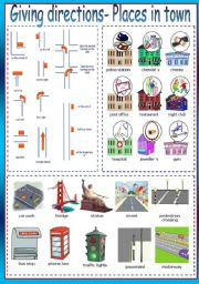 English Worksheet: Giving Directions + Places in Town