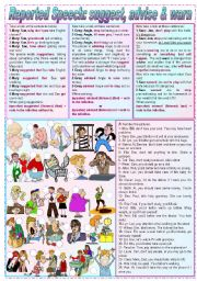 English Worksheets: Reported Speech: suggest, advise & warn (grammar guide + exercises) - keys included - fully editable