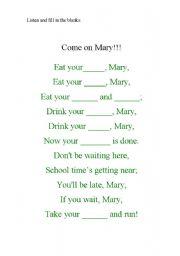 English Worksheet: Food song!