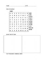 English Worksheets: Find words and draw
