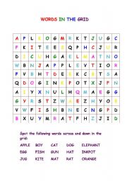 English Worksheets: Words in the Grid