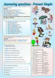 English worksheet: Answering questions with the Present Simple