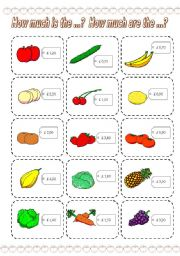 English Worksheets: How much is the ...? How much are the ...? GAME (1) (3 PAGES)